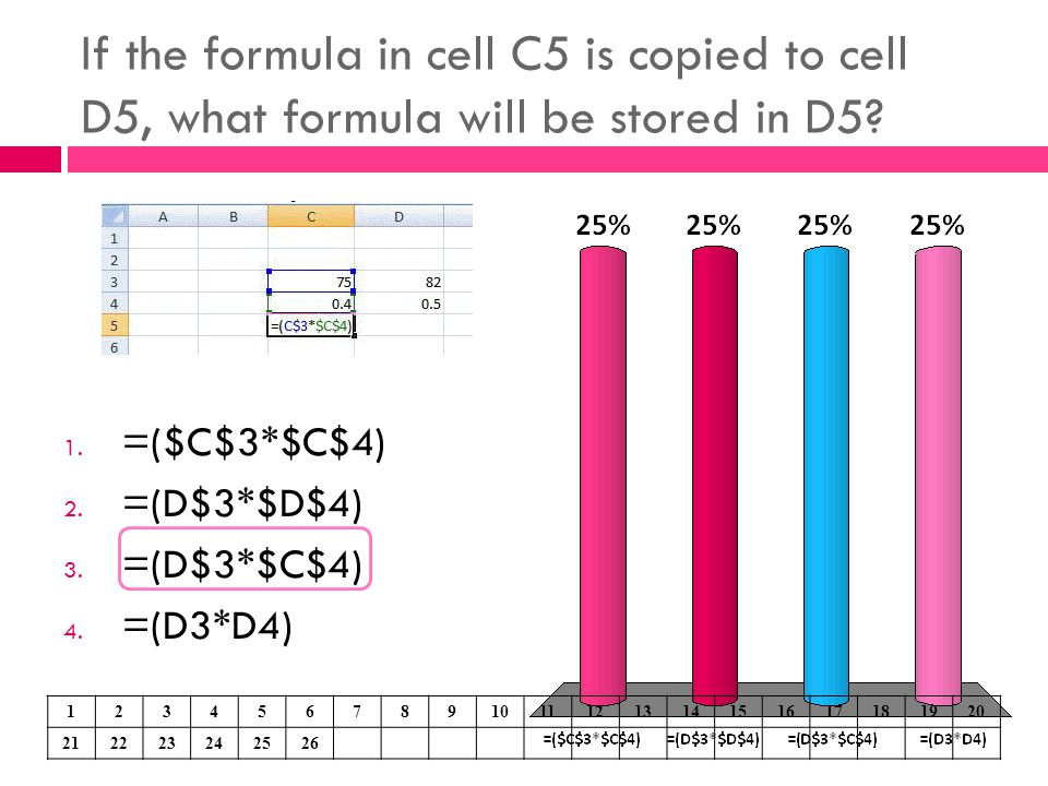 If the formula in cell C5 is copied to cell D5, what formula will be stored in D5