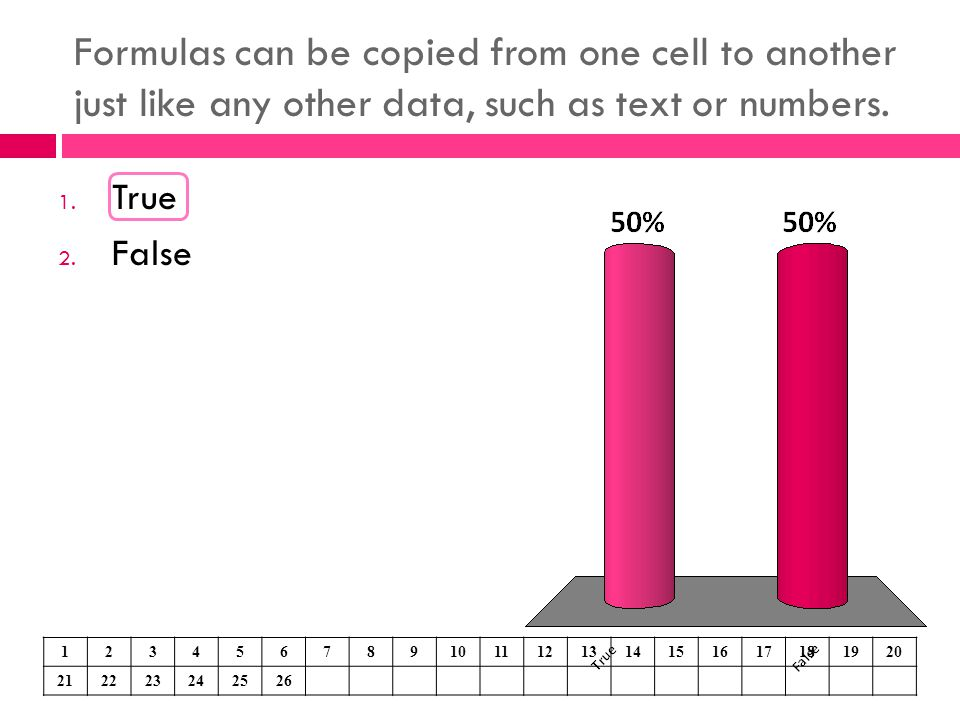 Formulas can be copied from one cell to another just like any other data, such as text or numbers.