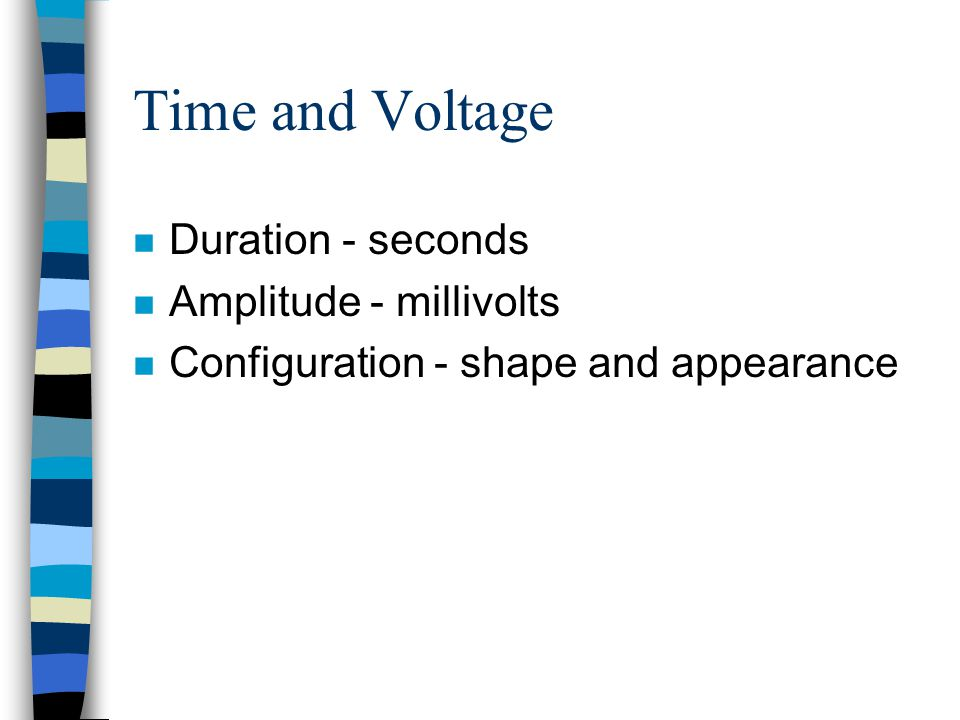 Time and Voltage Duration - seconds Amplitude - millivolts