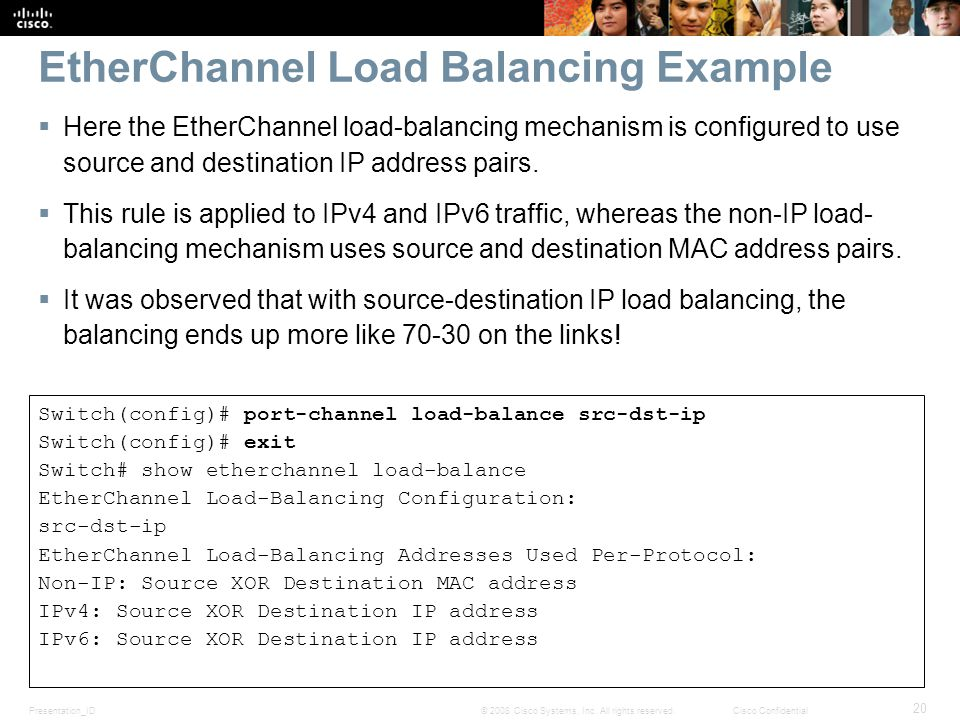 EtherChannel Load Balancing Example