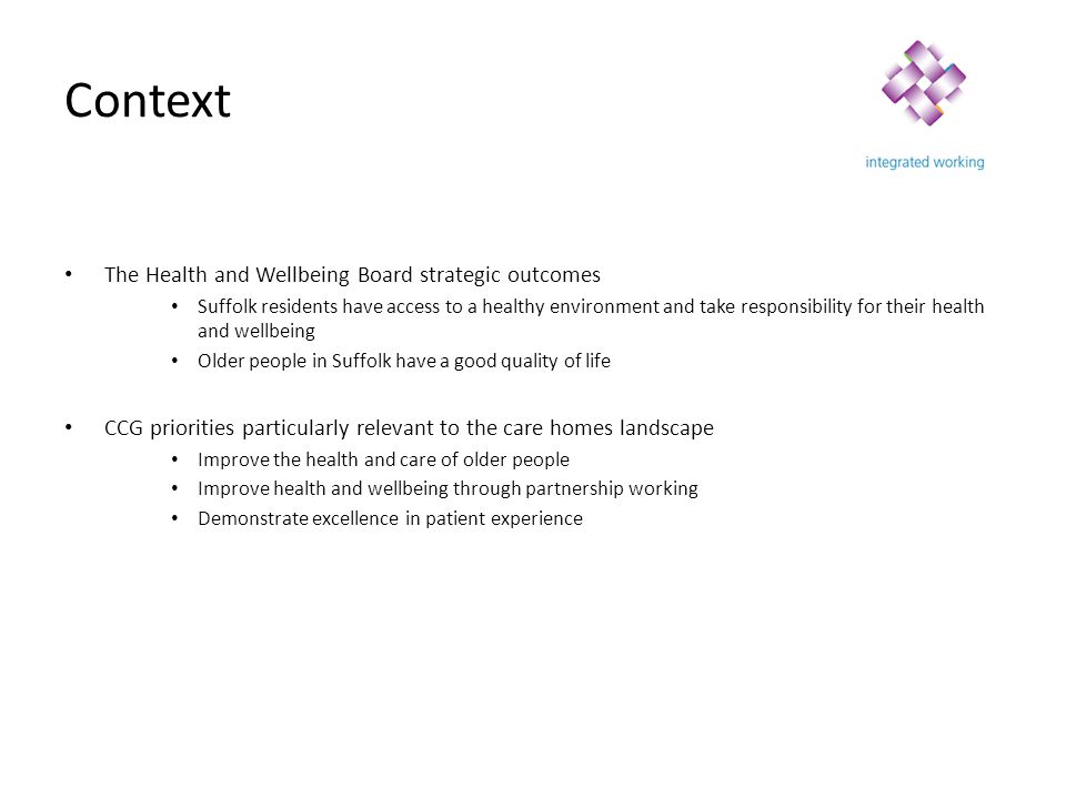 Context The Health and Wellbeing Board strategic outcomes