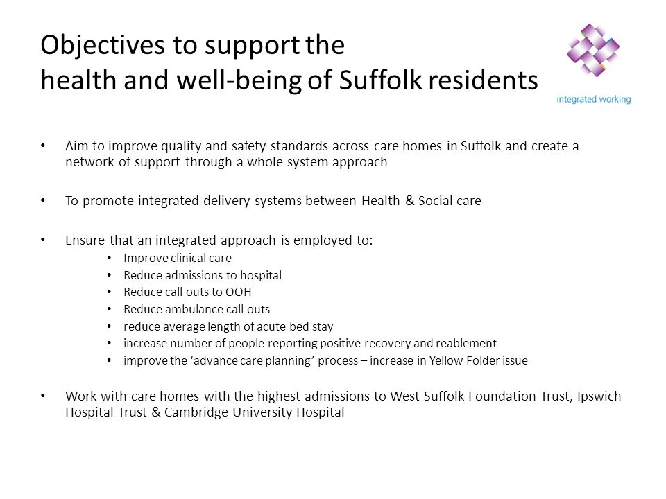 Objectives to support the health and well-being of Suffolk residents