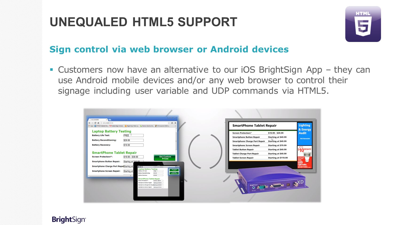 Unequaled HTML5 Support
