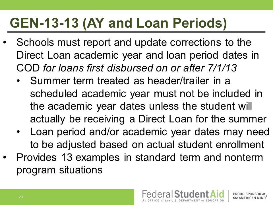 GEN-13-13 (AY and Loan Periods)