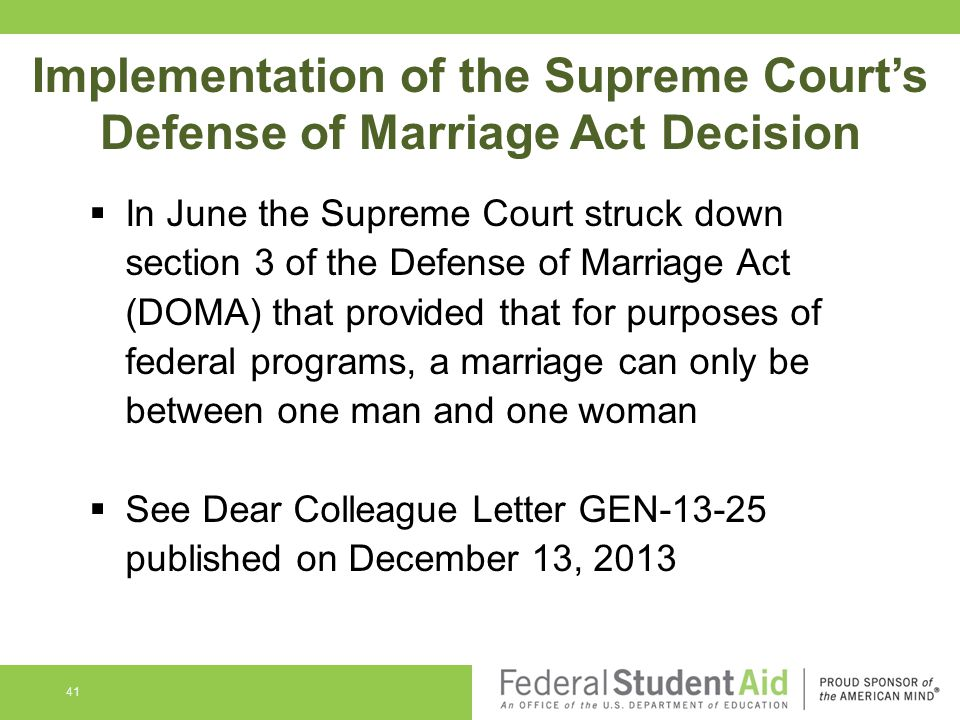 Implementation of the Supreme Court's Defense of Marriage Act Decision