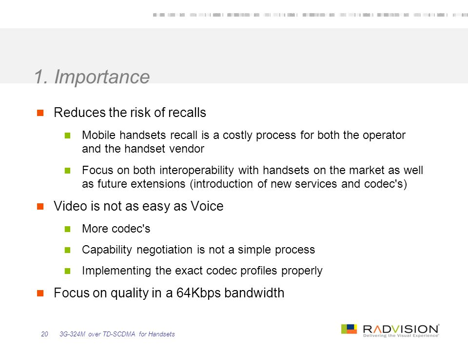 1. Importance Reduces the risk of recalls
