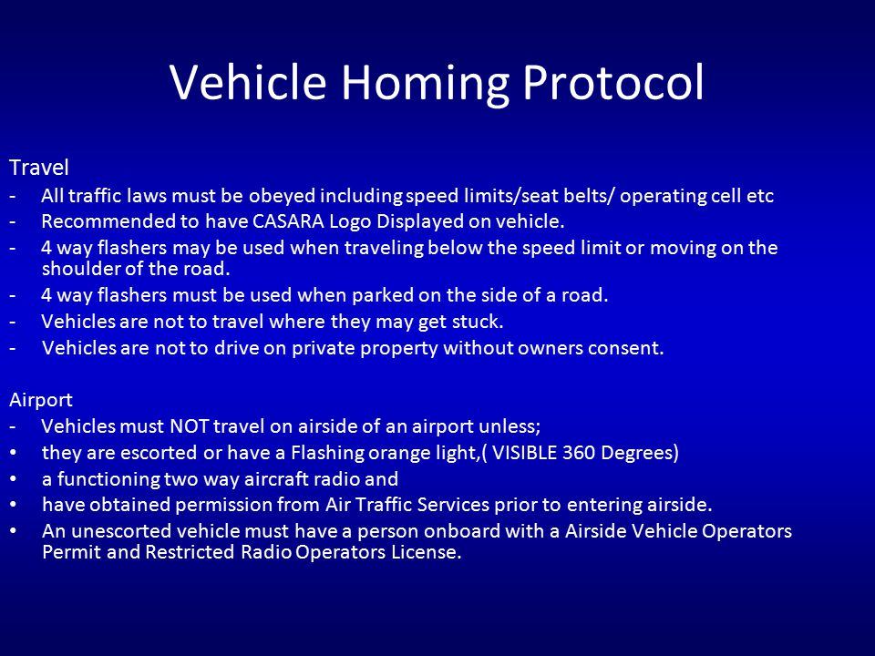 Vehicle Homing Protocol