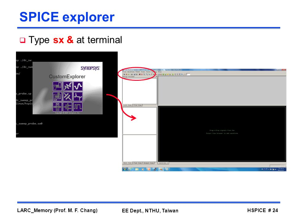 SPICE explorer Type sx & at terminal