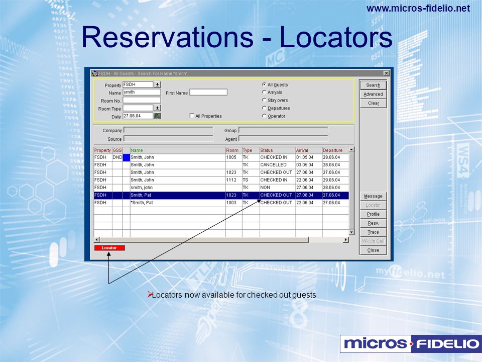 Reservations - Locators