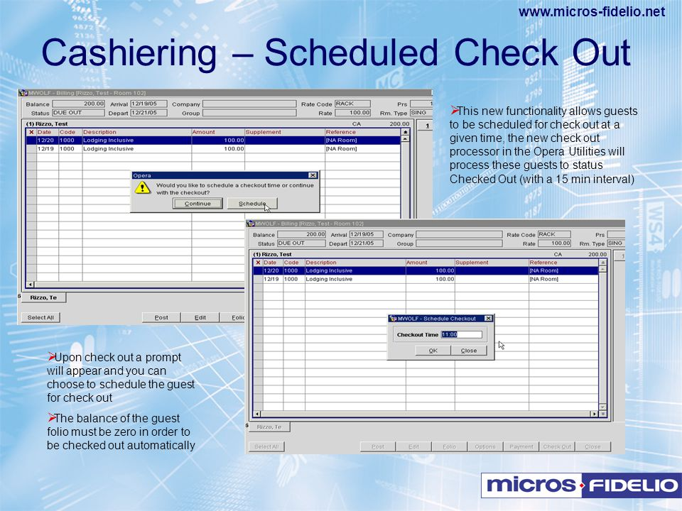 Cashiering – Scheduled Check Out