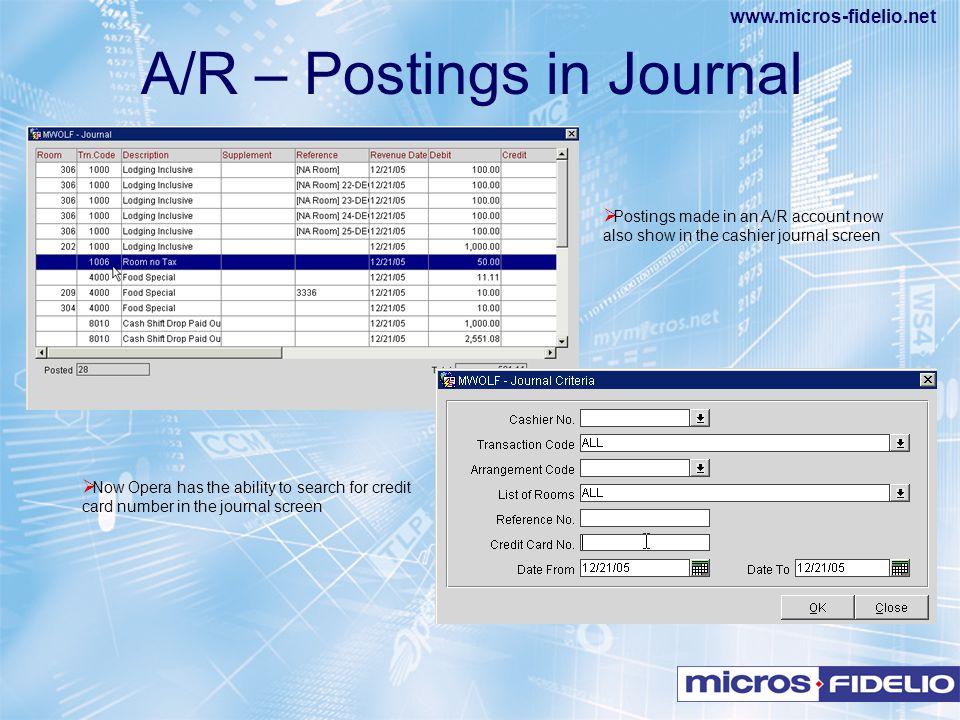 A/R – Postings in Journal