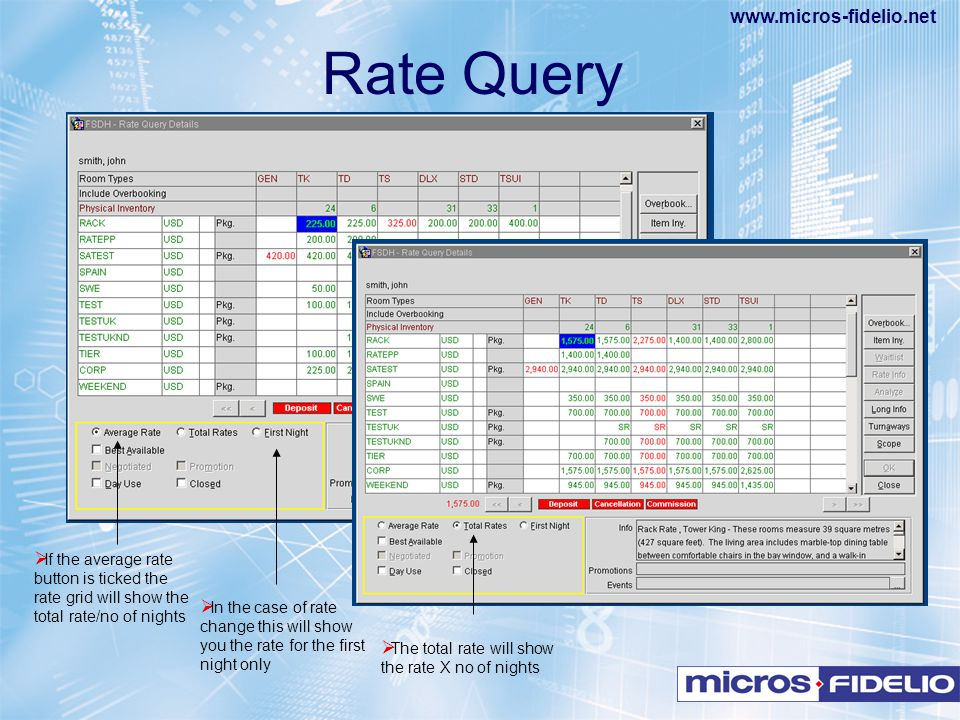 Rate Query If the average rate button is ticked the rate grid will show the total rate/no of nights.