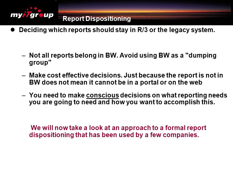 Report Dispositioning