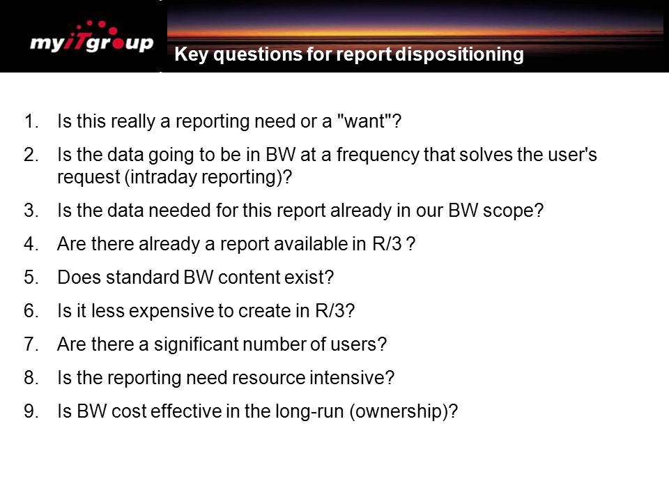 Key questions for report dispositioning