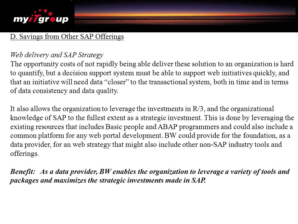 D. Savings from Other SAP Offerings