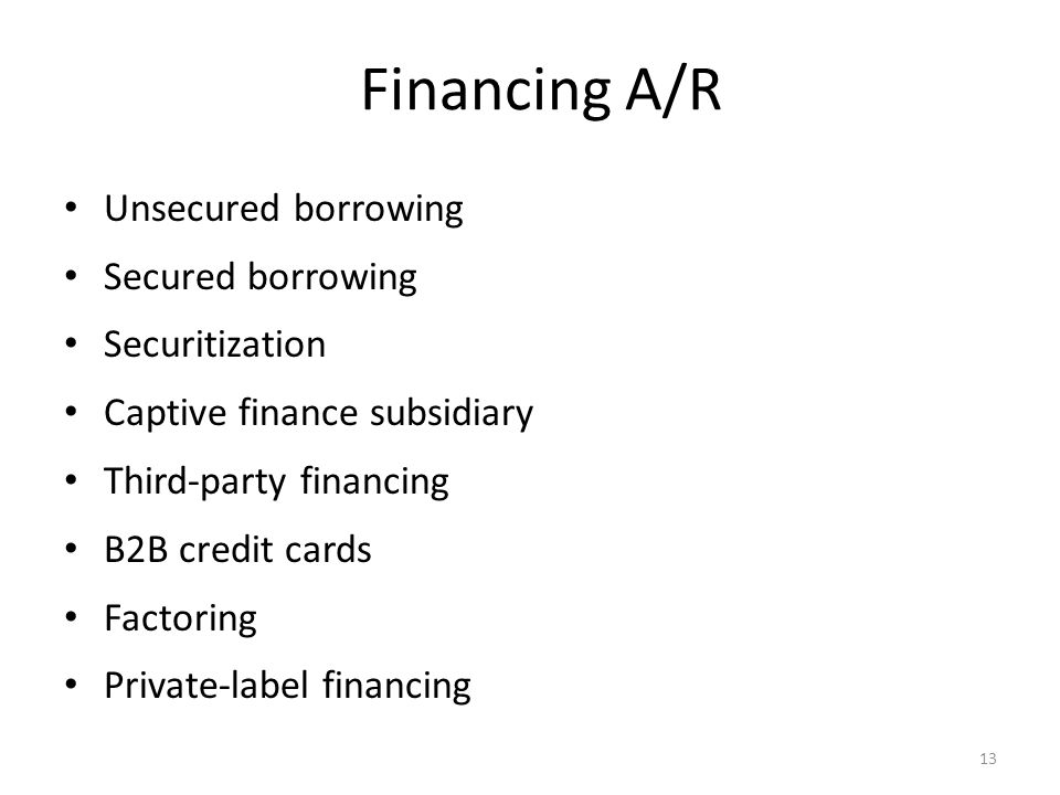 Financing A/R Unsecured borrowing Secured borrowing Securitization