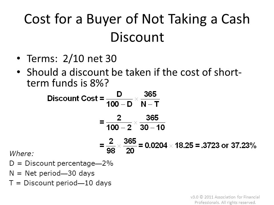 Cost for a Buyer of Not Taking a Cash Discount