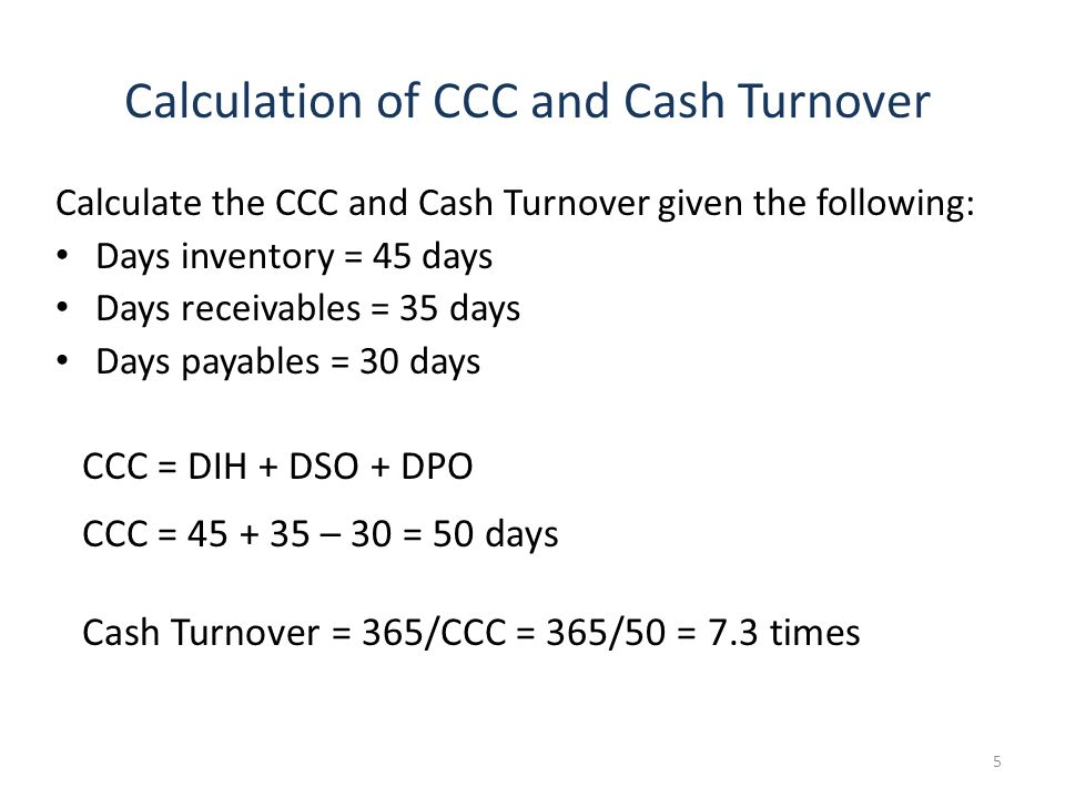 Calculation of CCC and Cash Turnover