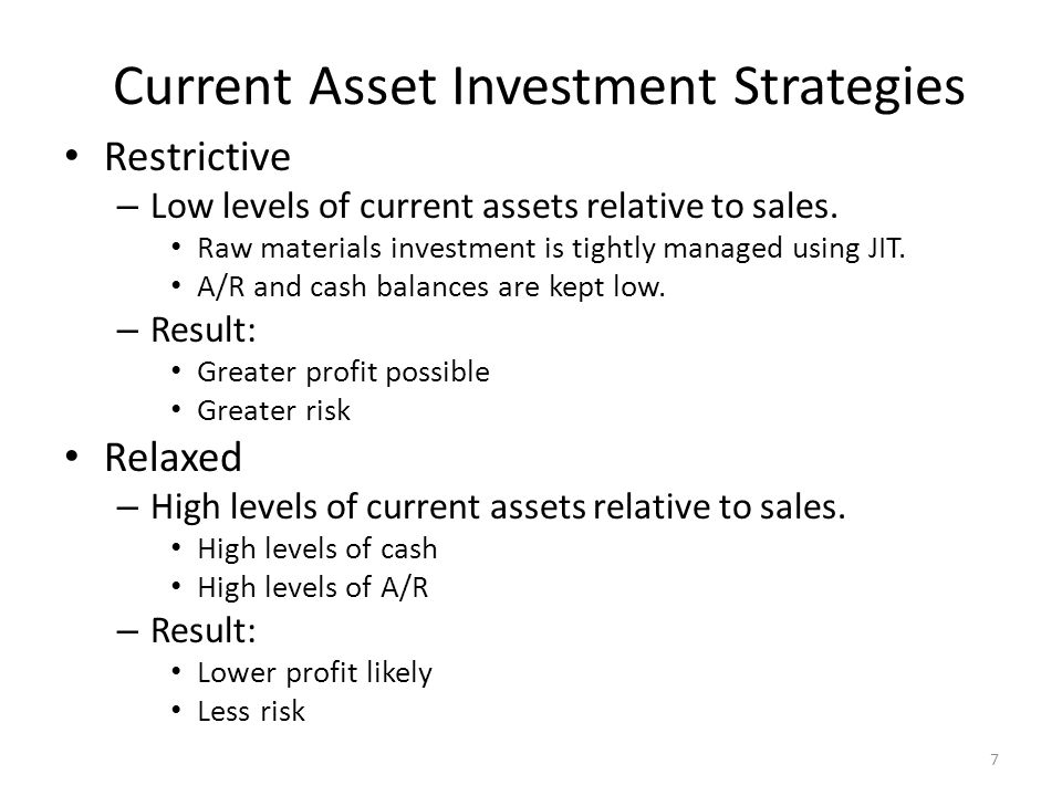 Current Asset Investment Strategies