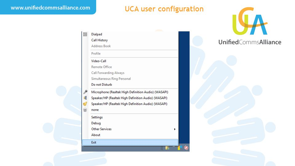 UCA user configuration