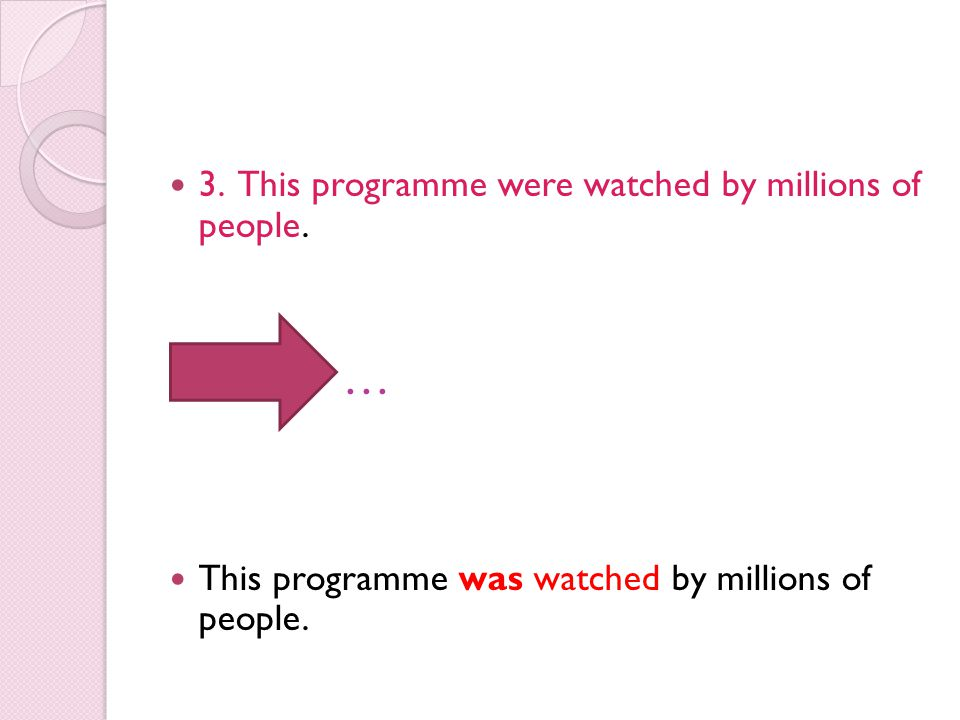 … 3. This programme were watched by millions of people.