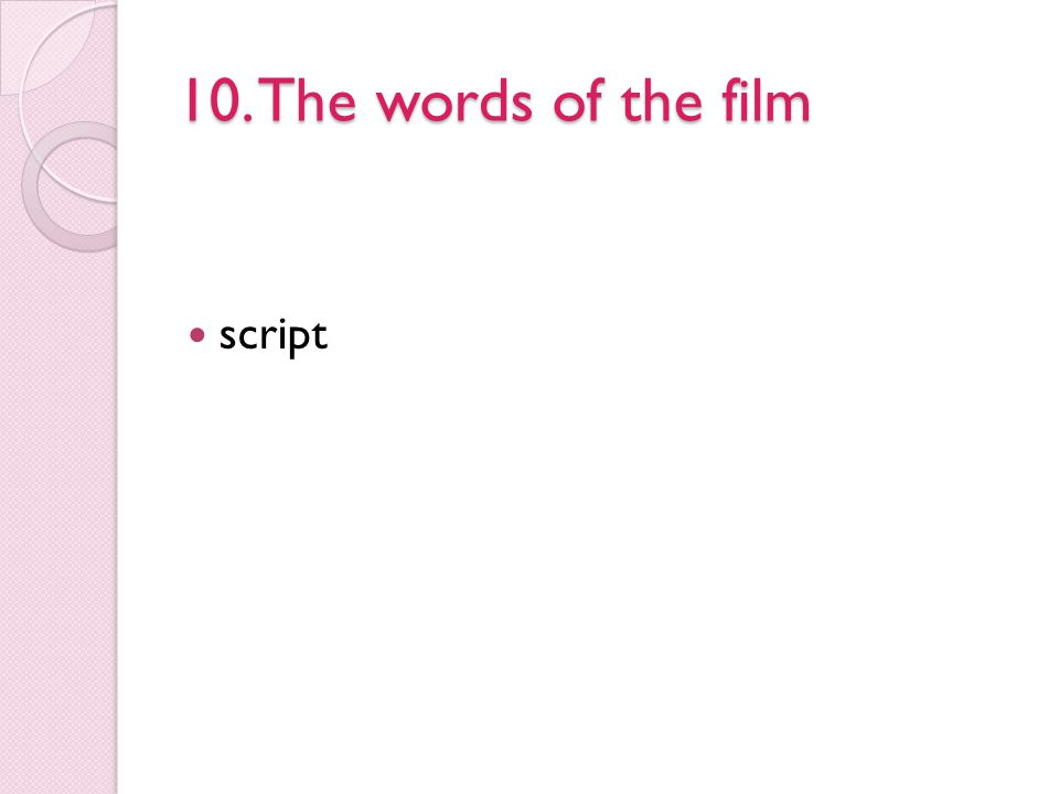 10. The words of the film script