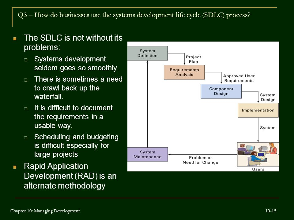 The SDLC is not without its problems: