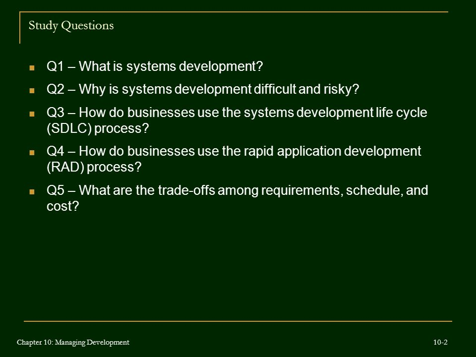 Q1 – What is systems development