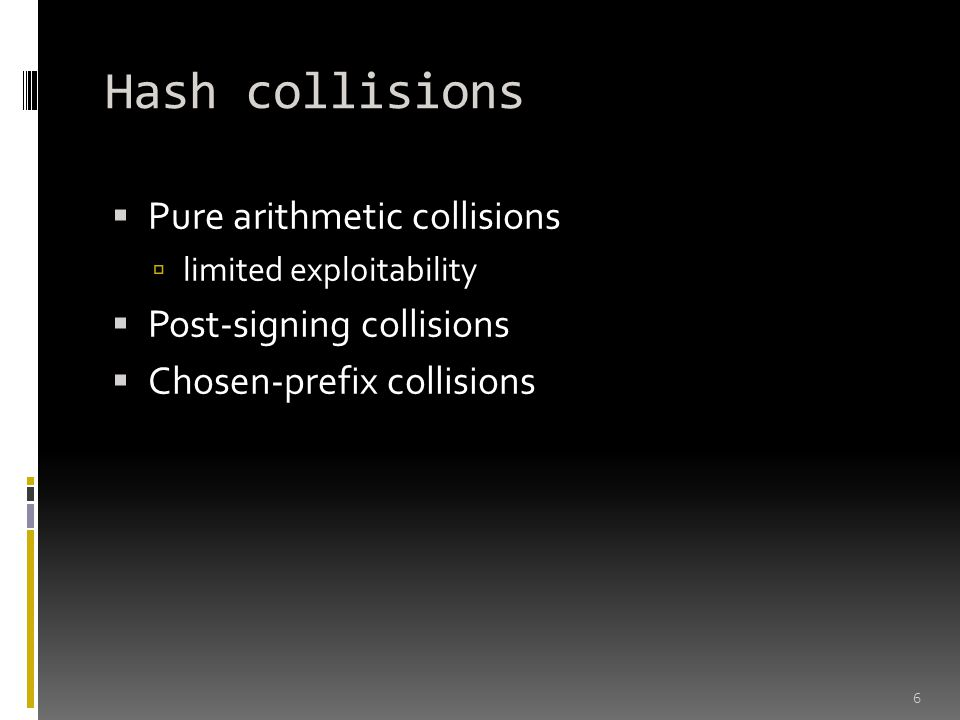Hash collisions Pure arithmetic collisions Post-signing collisions