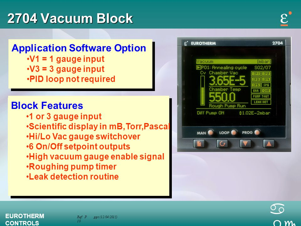 2704 Vacuum Block Application Software Option Block Features