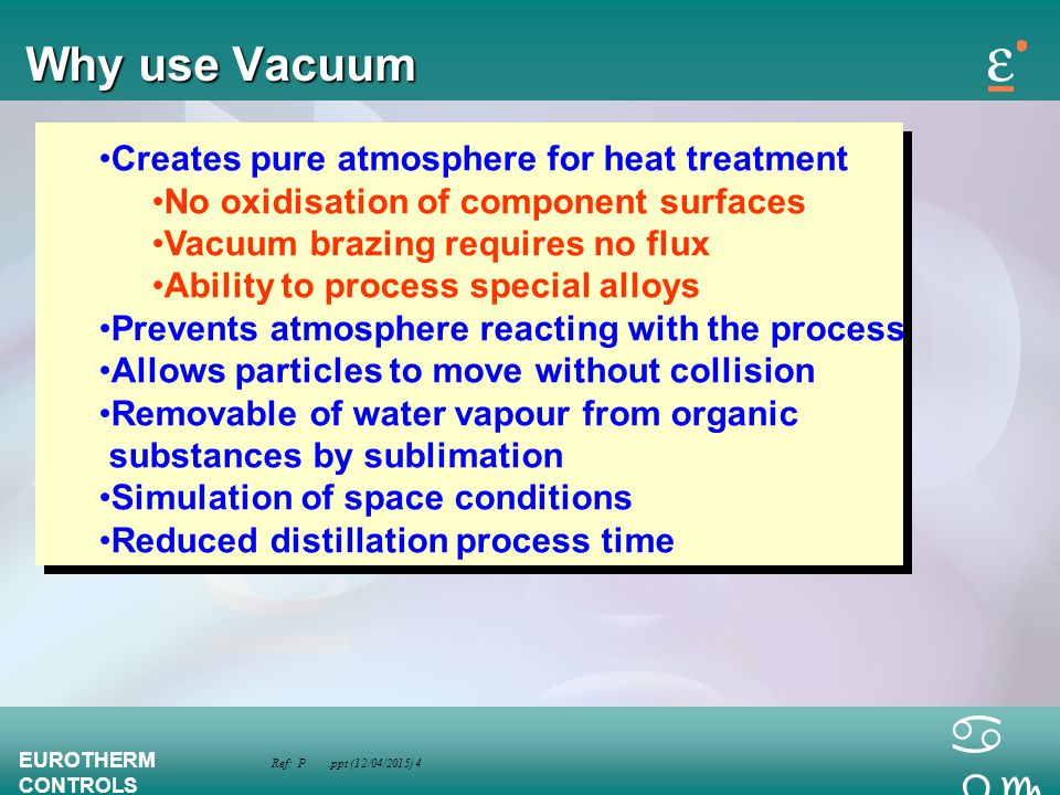 Why use Vacuum Creates pure atmosphere for heat treatment
