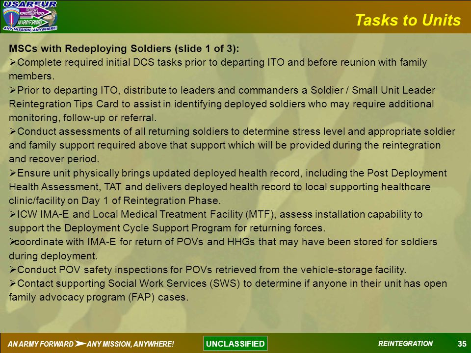 Tasks to Units MSCs with Redeploying Soldiers (slide 1 of 3):
