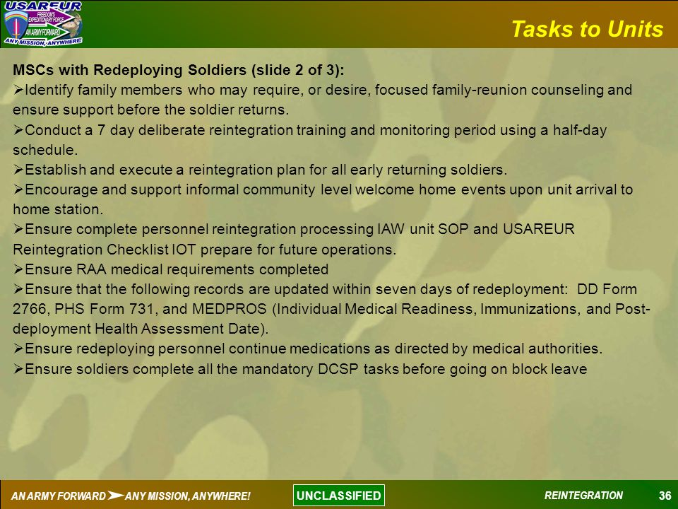 Tasks to Units MSCs with Redeploying Soldiers (slide 2 of 3):