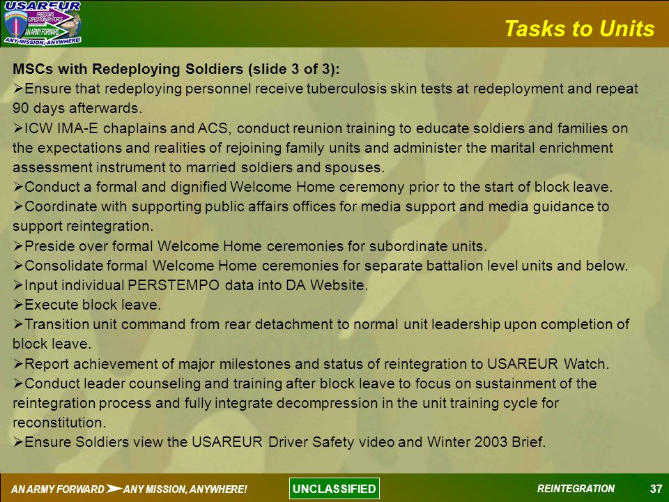 Tasks to Units MSCs with Redeploying Soldiers (slide 3 of 3):