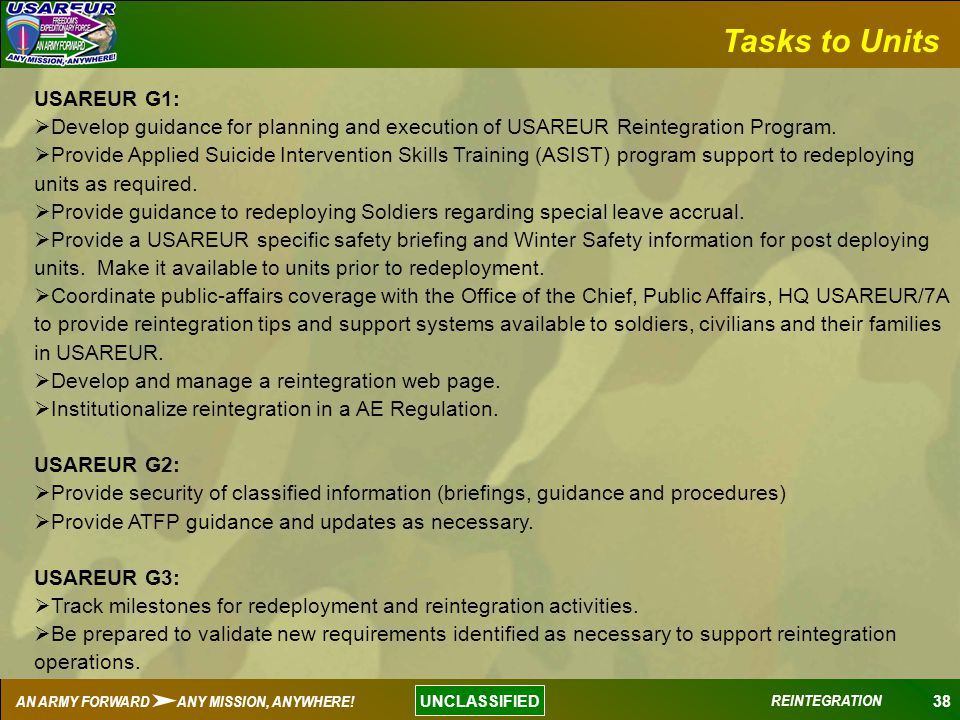 Tasks to Units USAREUR G1: