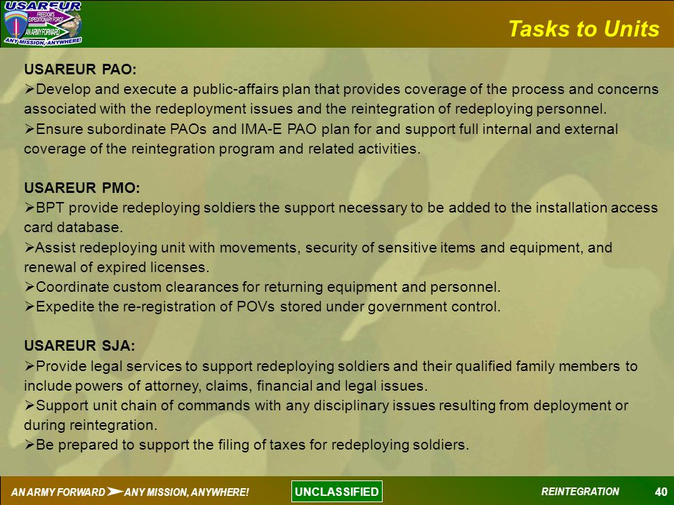 Tasks to Units USAREUR PAO: