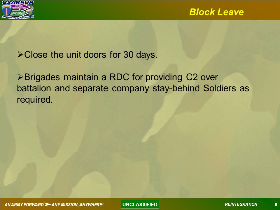Block Leave Close the unit doors for 30 days.
