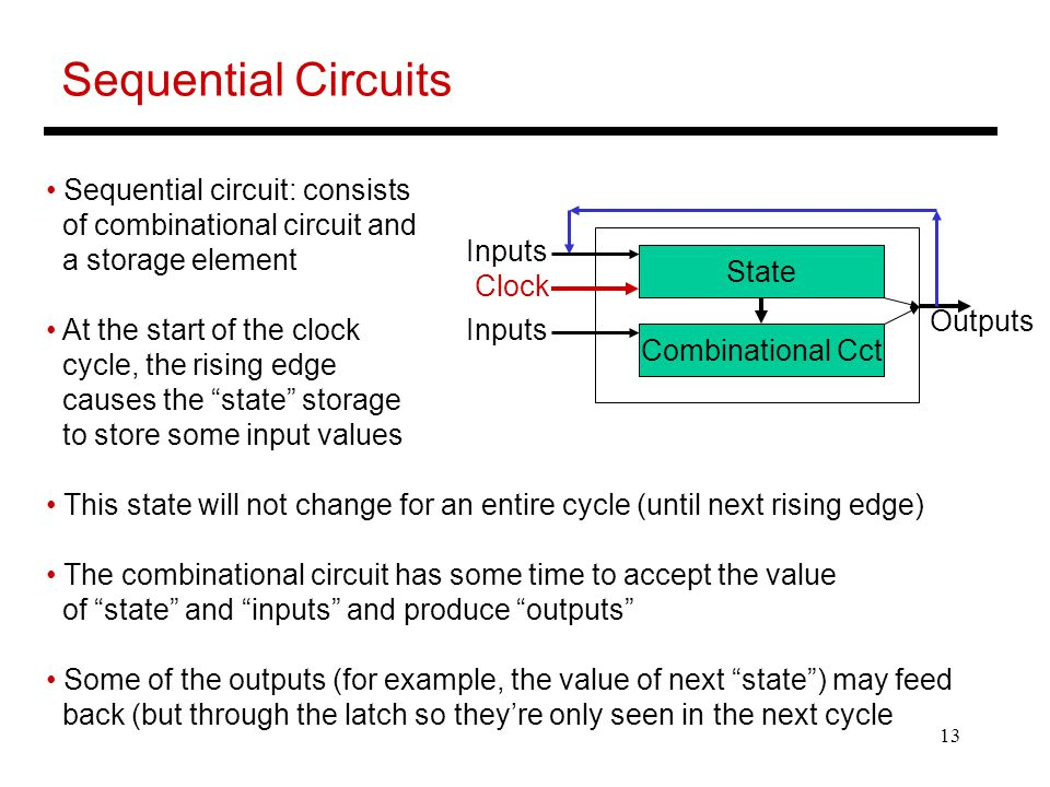 Sequential Circuits Sequential circuit: consists