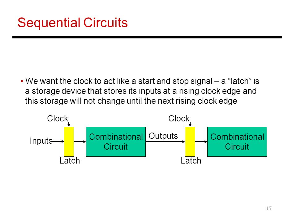 Sequential Circuits We want the clock to act like a start and stop signal – a latch is.
