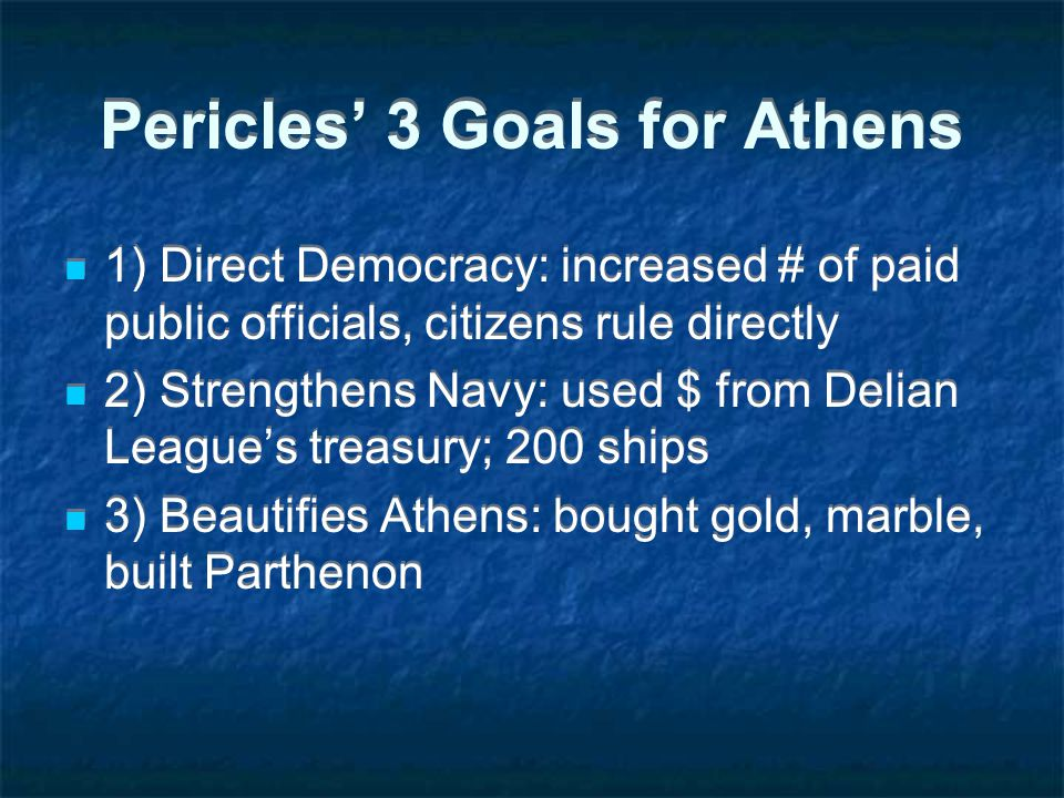 Pericles' 3 Goals for Athens