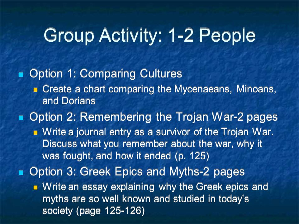 Group Activity: 1-2 People