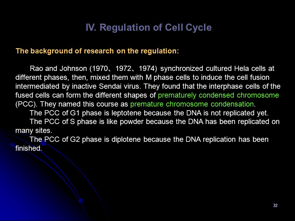 IV. Regulation of Cell Cycle