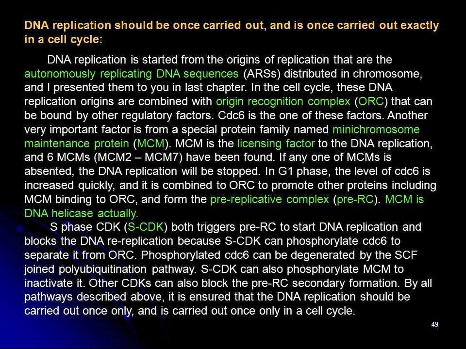 DNA replication should be once carried out, and is once carried out exactly in a cell cycle: