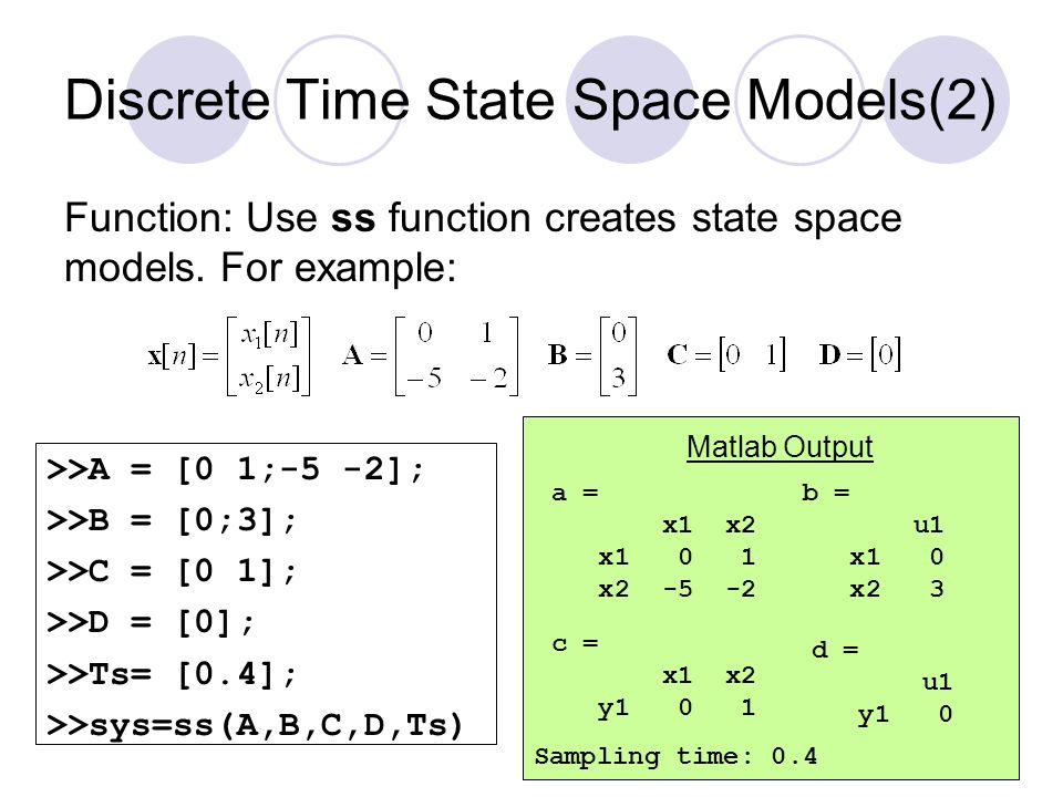 Discrete Time State Space Models(2)