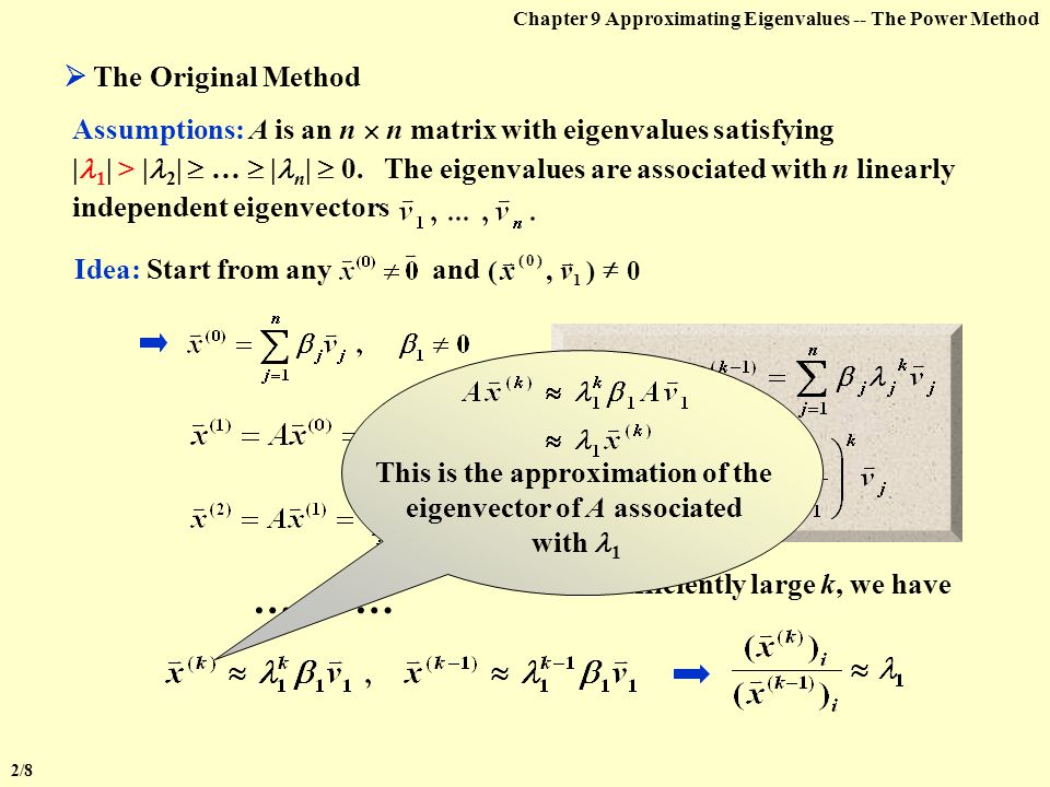 This is the approximation of the eigenvector of A associated