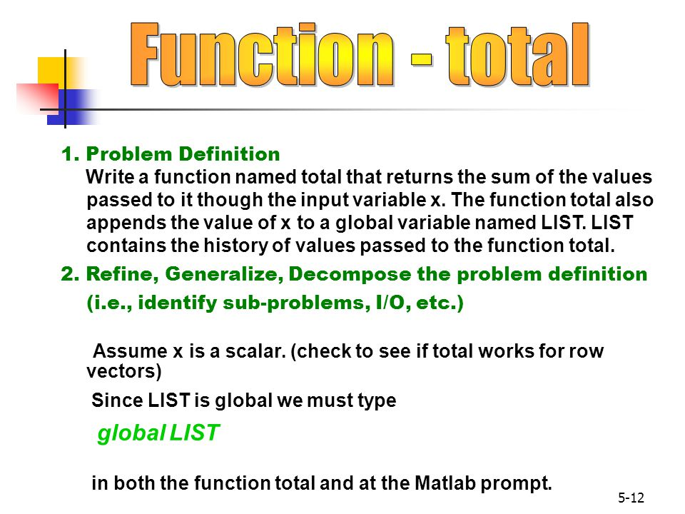 Function - total 1. Problem Definition