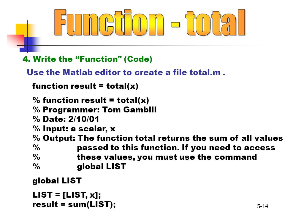 Function - total 4. Write the Function (Code)