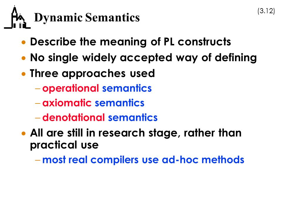 Dynamic Semantics Describe the meaning of PL constructs