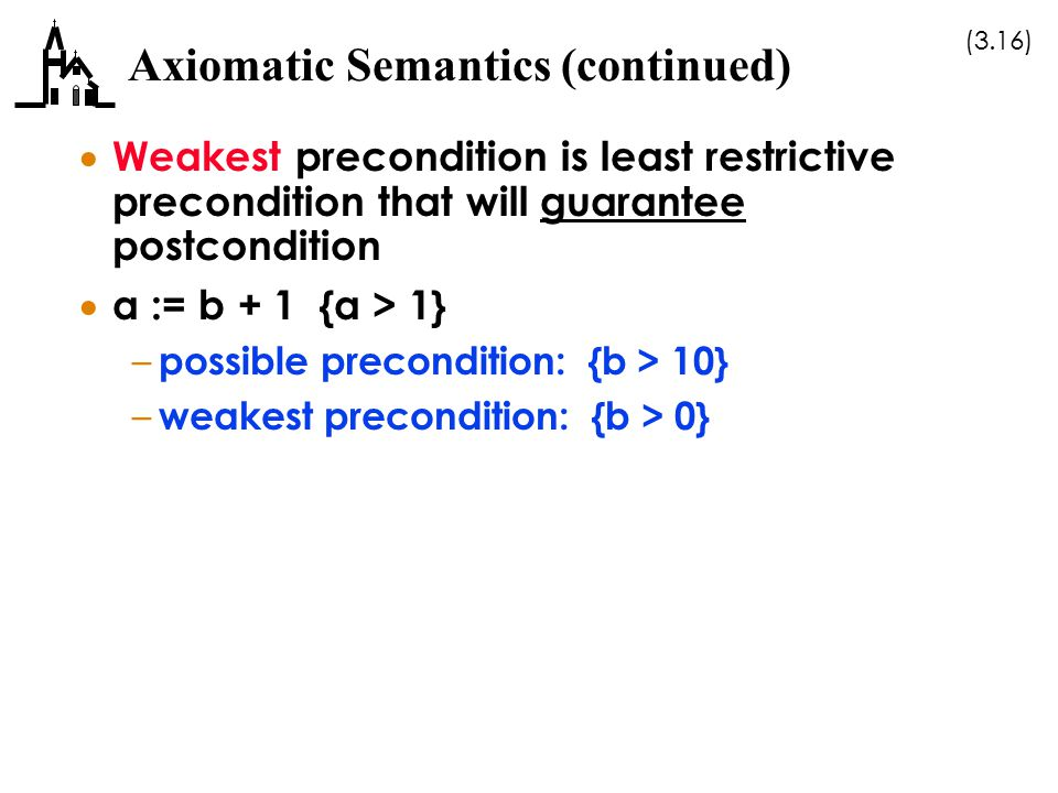 Axiomatic Semantics (continued)