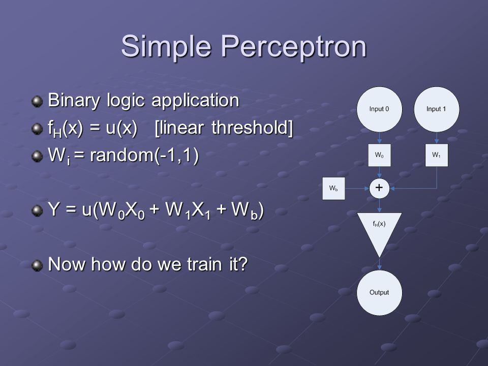 Simple Perceptron Binary logic application